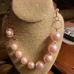 Charming Charlie flower pearl statement necklace